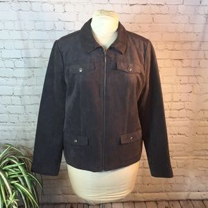 Studio Works charcoal vegan suede jacket. Size 14